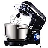 Aucma Küchenmaschine 1400W mit 6,2L Edelstahl-Rühlschüssel, Rührbesen, Knethaken, Schlagbesen und Spritzschutz, 6 Geschwindigkeit Geräuschlos Teigmaschine, Schwarz
