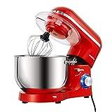 Aucma Küchenmaschine 1400W mit 6,2L Edelstahl-Rühlschüssel, Rührbesen, Knethaken, Schlagbesen und Spritzschutz, 6 Geschwindigkeit Geräuschlos Teigmaschine, Rot