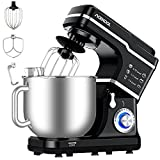 Küchenmaschine Acekool 1400W MC1 Knetmaschine Rührmaschine mit 7L Edelstahl-Rührschüssel, 10 Geschwindigkeiten Geräuscharme Teigknetmaschine, Schläger, Knethaken & Schlagbesen (Schwarz)