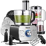 Decen Küchenmaschine multifunktional, 1100W, 3 Geschwindigkeiten, 7 in 1, Elektrischer Zerkleinerer, Standmixer, Zitrusspresse, Kaffeemühle, 3.2L Rührschüssel, 1.5L Mixbecher